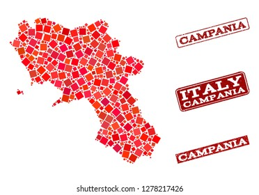 Geographic collage of dot mosaic map of Campania region and red rectangle grunge stamp imprints. Vector map of Campania region formed with red square dots. Flat design for geographic posters.