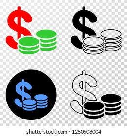 Geographic collage of dotted cash and grunge seal stamp. Mosaic vector cash composed with square dots and gradient from blue to red color. Flat design for patriotic purposes.