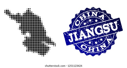 Geographic combination of dot Map of Jiangsu Province and blue grunge seal stamp imprint. Halftone vector Map of Jiangsu Province formed with rectangular pixels.