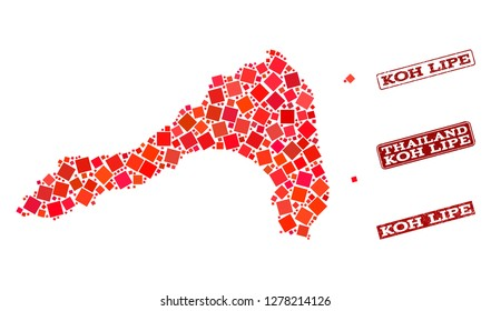 Geographic combination of dot mosaic map of Koh Lipe and red rectangle grunge seal watermarks. Vector map of Koh Lipe formed with red square mosaic items. Flat design for geographic illustrations.