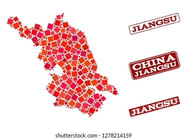 Geographic combination of dot mosaic Map of Jiangsu Province and red rectangle grunge seal stamp watermarks. Vector Map of Jiangsu Province designed with red square mosaic items.