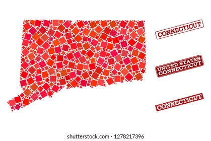 Geographic combination of dot mosaic map of Connecticut State and red rectangle grunge seal stamp watermarks. Vector map of Connecticut State formed with red square points.