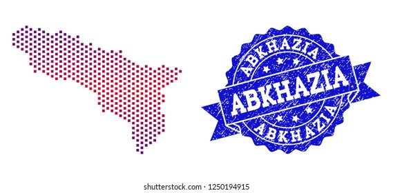 Geographic combination of dotted map of Abkhazia and grunge seal. Mosaic vector map of Abkhazia designed with square dots and gradient from blue to red color. Flat design for political posters.