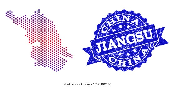 Geographic combination of dotted Map of Jiangsu Province and grunge seal. Mosaic vector Map of Jiangsu Province composed with square dots and gradient from blue to red color.