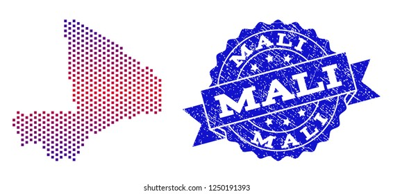 Geographic combination of dotted map of Mali and grunge stamp. Mosaic vector map of Mali created with square dots and gradient from blue to red color. Flat design for patriotic purposes.
