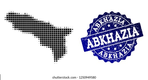 Geographic composition of dot map of Abkhazia and blue grunge seal imprint. Halftone vector map of Abkhazia created with rectangle pixels. Flat design for cartographic illustrations.