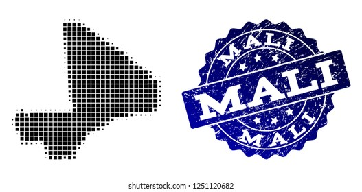 Geographic composition of dot map of Mali and blue grunge seal imprint. Halftone vector map of Mali created with rectangle points. Flat design for infographic illustrations.