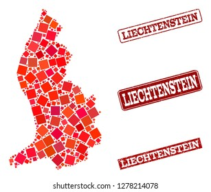 Geographic composition of dot mosaic map of Liechtenstein and red rectangle grunge seal watermarks. Vector map of Liechtenstein designed with red square mosaic items.