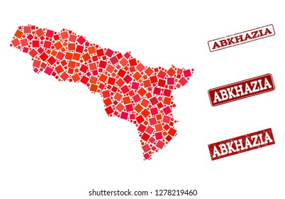 Geographic composition of dot mosaic map of Abkhazia and red rectangle grunge stamp watermarks. Vector map of Abkhazia composed with red square mosaic items. Flat design for geographic purposes.