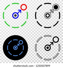 Geographic composition of dotted move to circle perimeter and grunge seal. Mosaic vector move to circle perimeter composed with square dots and gradient from blue to red color.