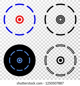 Geographic composition of dotted round perimeter and grunge seal. Mosaic vector round perimeter created with square dots and gradient from blue to red color. Flat design for patriotic posters.