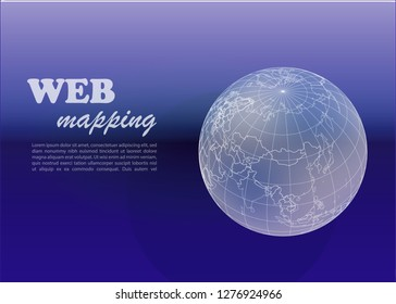 Geographic information systems, gis, cartography and mapping. Vector web mapping. GIS day. Dark background.
