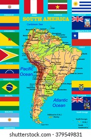 geographic map of south america with flags of states highly detailed vector ilration flags