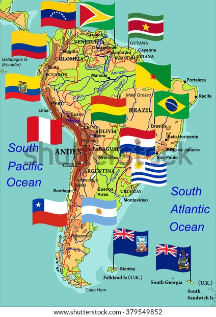 Geographic Map South America Flags States Stock-Vrgrafik ... on