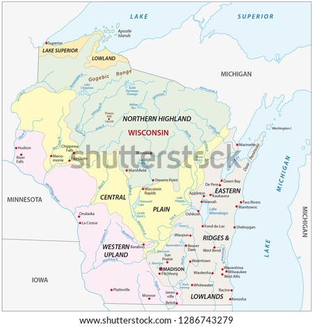 Geographic Vector Map Us State Wisconsin Stock Vector Royalty Free