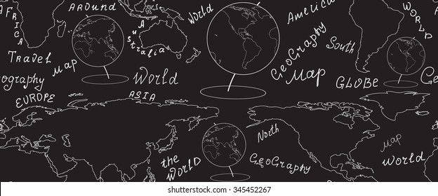 Geographic vector seamless pattern with world map and globes handwritten by chalk on grey board. Elements of this image furnished by NASA