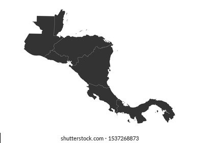 Geographical central american countries map with boundaries vector illustration