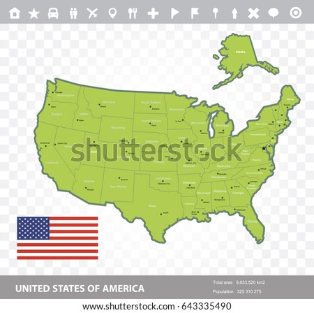 Geographical Map United States America Flagvector Stock Vector ...