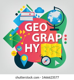 Geography. Back to school concept. Set of School supplies. Linear style web banner
