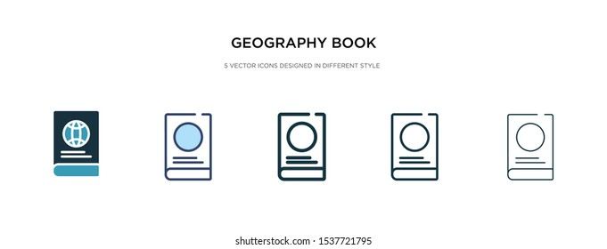 geography book icon in different style vector illustration. two colored and black geography book vector icons designed in filled, outline, line and stroke style can be used for web, mobile, ui