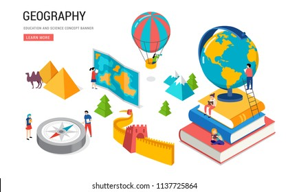 Geography class, school, college lesson. Vector isometric design