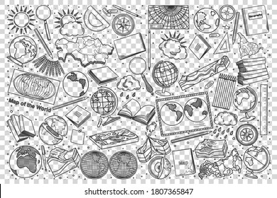 Geography doodle set. Collection of hand drawn sketches templates patterns of geographical equipment globes world maps and terrain mockups on transparent background. Back to school illustration