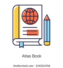 Geography education, atlas book icon in flat  vector