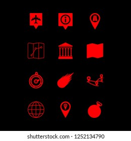 geography icon set about map, road pin, antique and pins located vector set