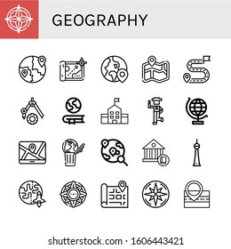 geography icon set. Collection of Compass, Global, Map, Globe, Destination, Geography, School, Country, World globe, World, Berlin, Earth, Windrose icons
