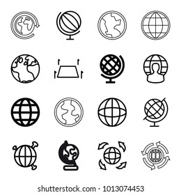 Geography icons. set of 16 editable outline geography icons such as globe, land territory, user globe