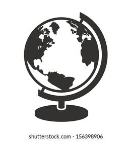 geography school earth globe black web icon. vector illustration