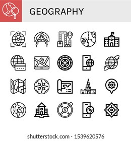 geography simple icons set. Contains such icons as World, Globe, Compass, Map, Global, School, Windrose, Earth grid, Cartagena, Philosophy, can be used for web, mobile and logo