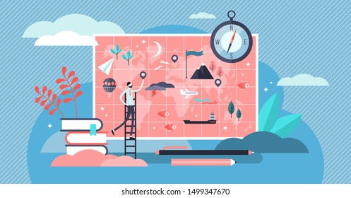 Geography vector illustration. Flat tiny atlas earth study persons concept. Abstract topography science and knowledge learning from teacher in school or university. Mapping and environment research.