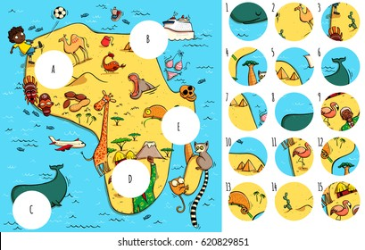 Geography Visual Game: Africa. Task: Find missing pieces. Illustration is in eps10 vector mode, solution in hidden layer.