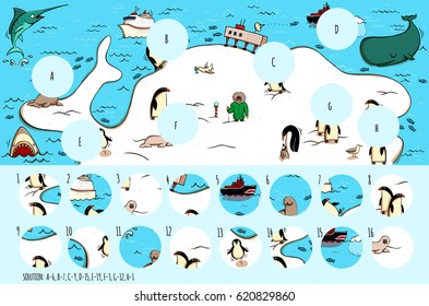Geography Visual Game: Antarctica. Task: Find missing pieces. Illustration is in eps10 vector mode, solution in hidden layer.