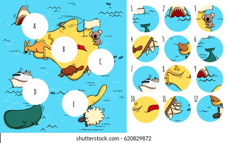 Geography Visual Game: Australia. Task: Find missing pieces. Illustration is in eps10 vector mode, solution in hidden layer.