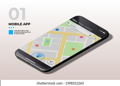 Geolacation Concept. Modern Mobile Cell Phone with GPS Map UI, UX and GUI Template. Template for E-commerce, Responsive Website and Mobile Apps.