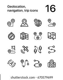 Geolocation, navigation, trip icons for web and mobile design pack 1