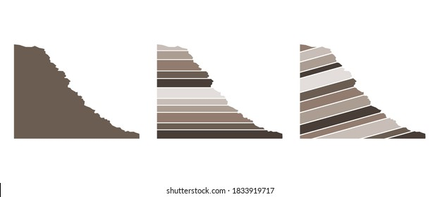 Geologic rock slope vector set.  Sedimentary structure. Horizontal bedding and incline bedding.