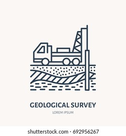 Geological survey, engineering vector flat line icon. Geodesy equipment. Geology research, taking soil sample illustration. Well drilling service signs.