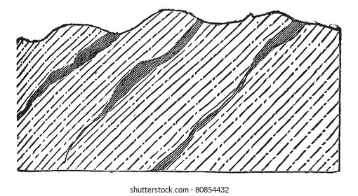 Geological Vein, illustration showing gneiss (unshaded) separated diagonally by auriferous quartz (shaded), vintage engraved illustration. Trousset encyclopedia (1886 - 1891).