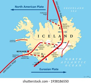 Geology of Iceland political map. Iceland lies on the divergent boundary between Eurasian plate and North American plate. Map with volcanic zones and belts, ridges and most important volcanoes. Vector