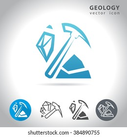 Geology icon set, collection of mineral icons, vector illustration