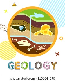 Geology poster with soil layers and elements found in it. Water and precious stone diamond. Skull of dinosaur and animal bones vector illustration