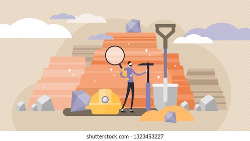 Geology vector illustration. Flat tiny soil science industry persons concept. Earth mineral rock exploration and mining knowledge business. Study about volcanic surface and solid fossil geodesy mining