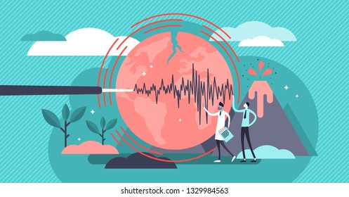 Geology vector illustration. Flat tiny volcano earthquake persons concept. Signal technology study to predict nature disasters. Scientists gathering instrument data. Seismic activity and lava eruption
