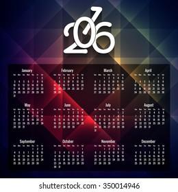 Geometric 2016 calendar in colored background