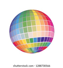 Geometric 3D Globe Ball Render Abstract Spectrum Swatch Color Palette Chart Background Illustration Symbol Isolated On White.