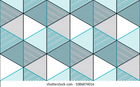Geometric 3d lines abstract seamless pattern, vector background. Technology style engineering line drawing endless illustration. Usable for fabric, wallpaper, wrapping, web and print.