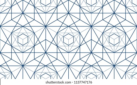 Geometric 3d lines abstract seamless pattern, vector background. Technology style engineering line drawing endless illustration. Single color, black and white.
